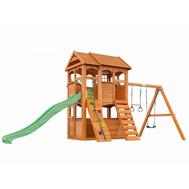 Деревянный уличный городок IGRAGRAD FAST КЛУБНЫЙ ДОМИК 2, канат, качели, горка, скалодром, фото 1